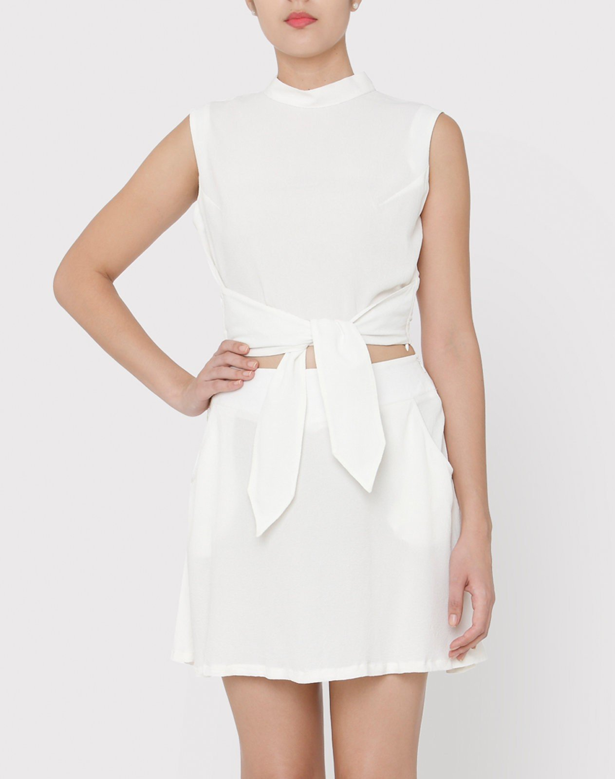 White Tie-up Crop Top styled with Skater Skirt in White