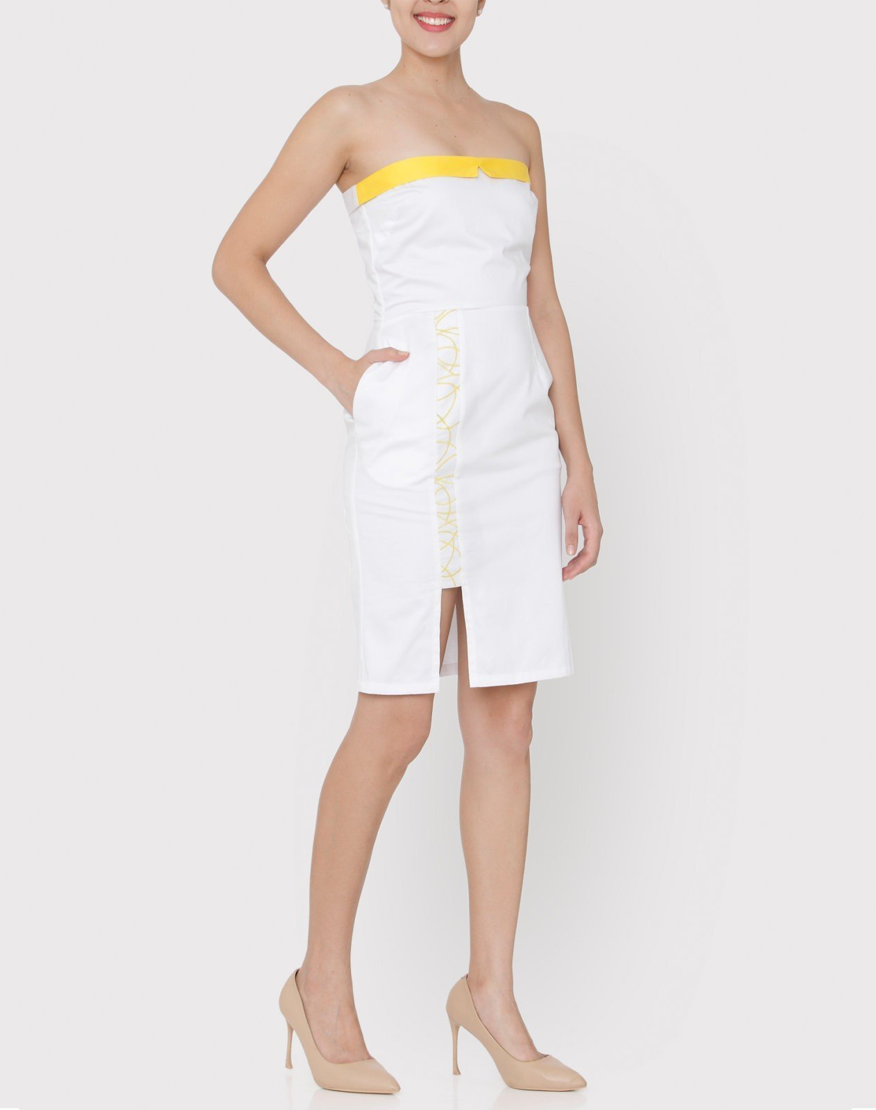 White cotton satin tube pencil dress