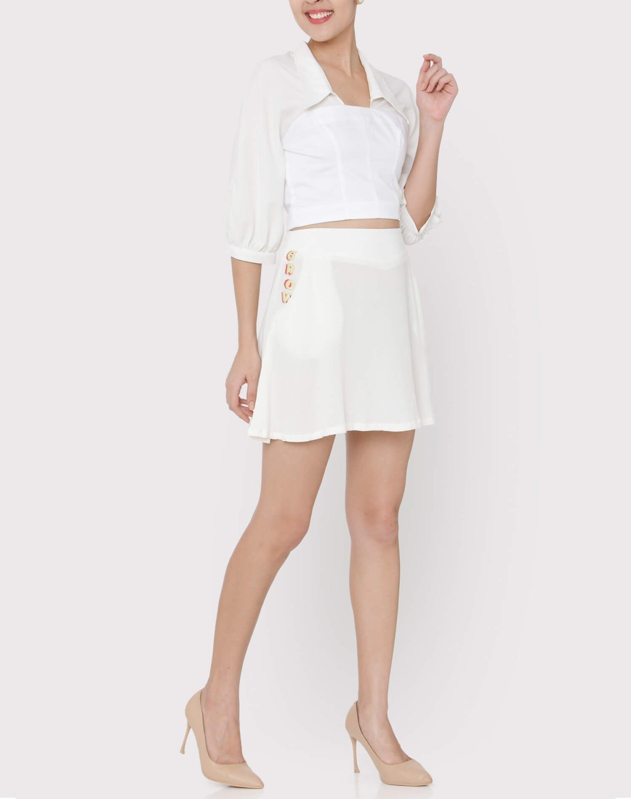 White cotton satin and georgette lace up shirt styled with white georgette skater skirt