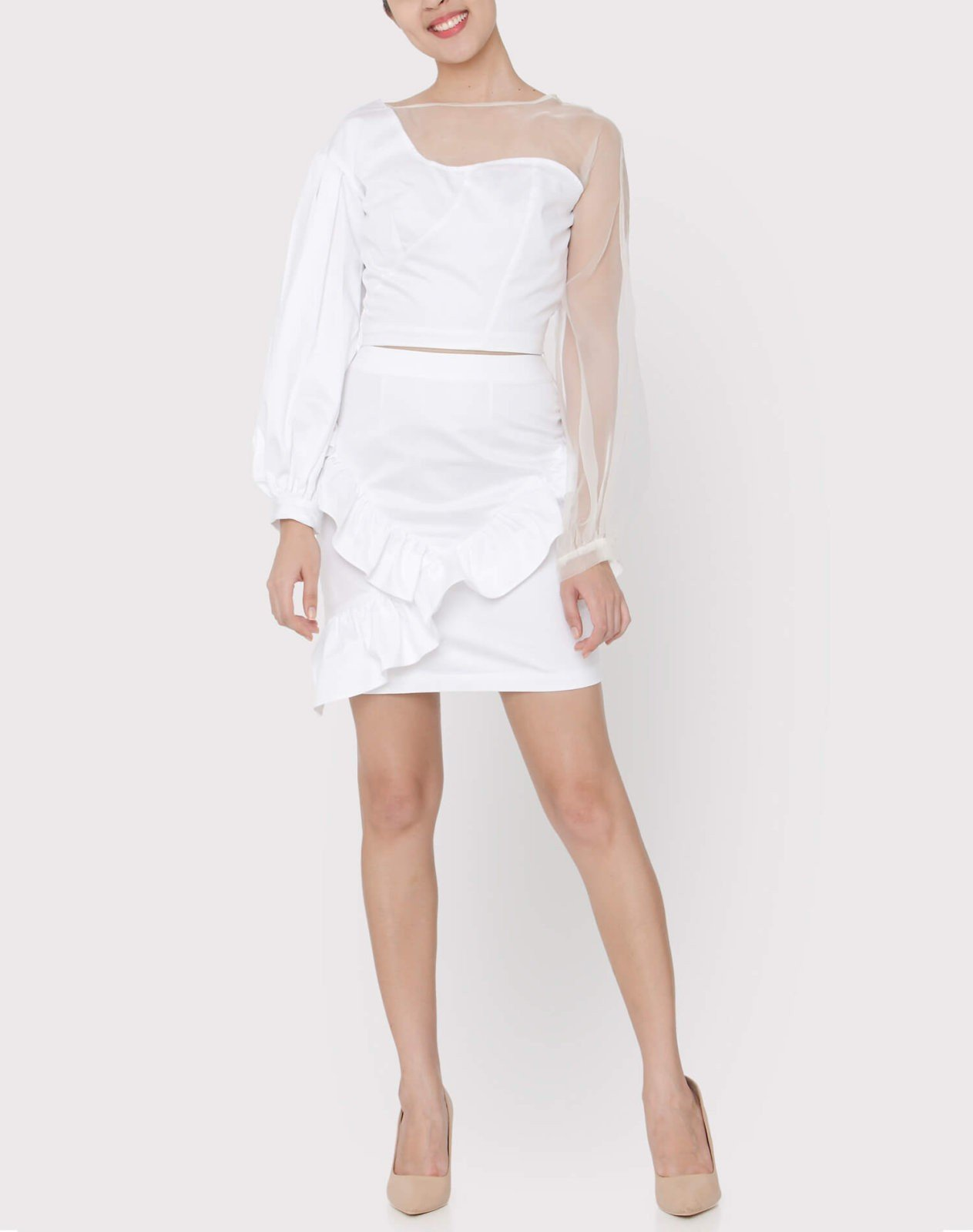 White silk organza panel top styled with white cotton satin ruffle skit